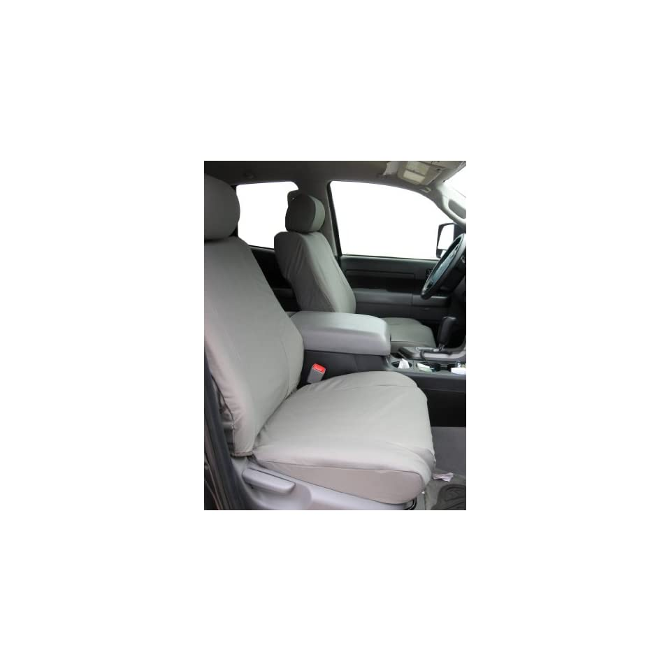 Exact Seat Covers, TD8 X7, 2007 2011 Toyota Tundra Double Cab Complete Front and Rear Seat Set Custom Fit Seat Covers, Gray Automotive Twill