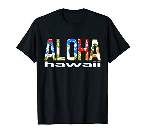 Aloha Hawaiian T-shirt Flowers Hawaii Funny Vacation Surf