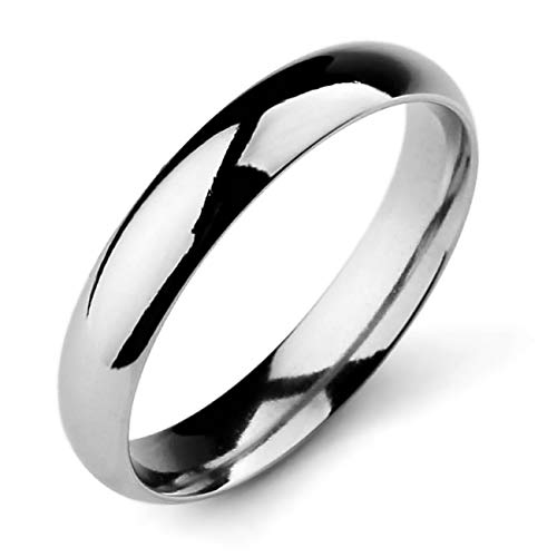 MeMeDIY 4mm Silver Tone Stainless Steel Ring Band Wedding Love Size 9 - Customized Engraving
