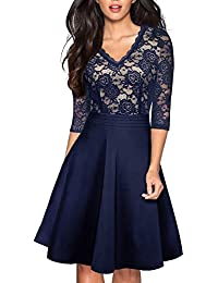 Womens Chic V-Neck Lace Patchwork Flare Party Dress A062