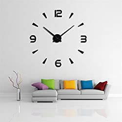 DIY 3D Wall Clock Modern Large Home Decor Sticker Frameless Black Mirror For Office Living Room Bedroom Kitchen Bar European Style Clock Plate