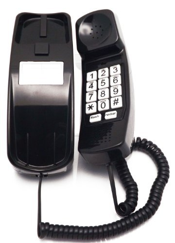 Style Telephone (Trimline Corded Phone - Phones For Seniors - Phone for hearing impaired - Black - Retro Novelty Telephone - An Improved Version of the Princess Phones in 1965 - Style Big Button - iSoHo Phones)