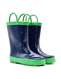 Mucky Wear Children's Rubber Rain Boots, Solid Colors, Navy, Red/Black, Yellow/Black, Green, Pink/Purple