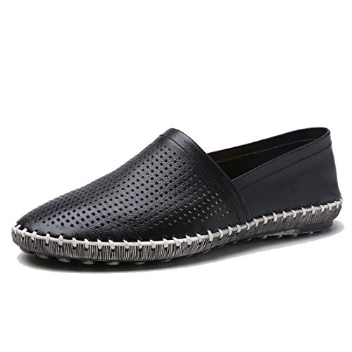 Tda Mens Fashion Slip-on Läder Andas Sömmar Öre Loafers Löparskor Svart
