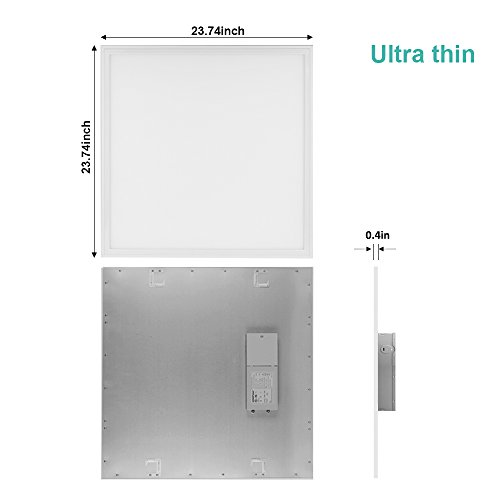 LTMATE 2x2FT 40W 5000K Cool White, Ultra Thin LED Flat Panel Light, Drop Ceiling Light, Edge-Lit, 4400 Lumens, 0-10V Dimmable, White Frame, No Flicker, DLC-Qualified, 2x2 5000K, 2pack by LTMATE (Image #2)