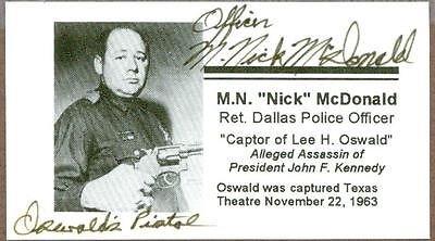 M. Nick McDonald, Captured Lee Harvey Oswald, Signed Card, COA
