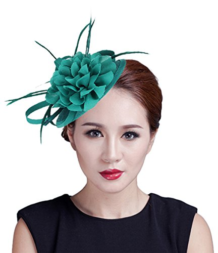 Gemvie Women Flower Feather Sinamay Fascinator Hat With Hair Clip Green