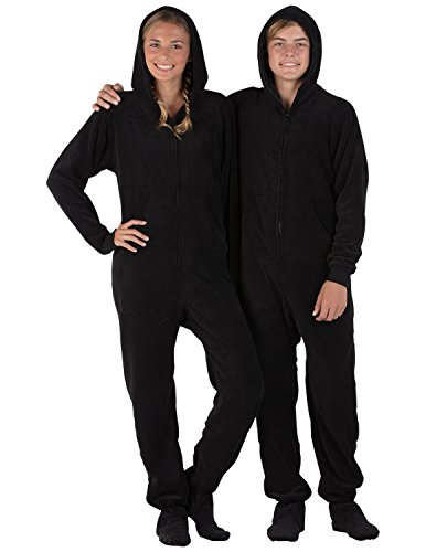 Footed Pajamas Family Matching Raven Black Kids Hoodie Chenille Onesie - Medium
