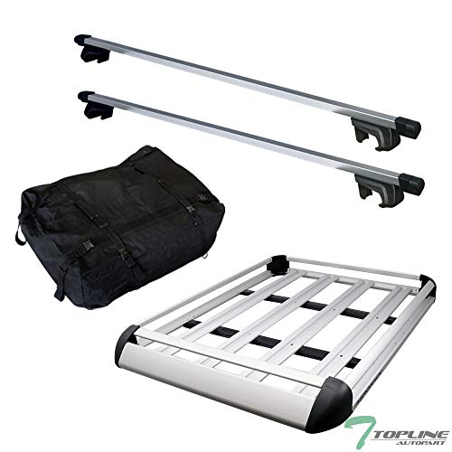 Silver Square Roof Rail Rack Cross Bars Kit+Cargo Carrier Luggage Basket T1 ()