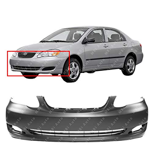 MBI AUTO - Primered, Front Bumper Cover for 2005 2006 2007 2008 Toyota Corolla LE CE Sedan, TO1000297