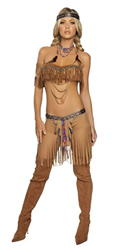 Apache Warrior Costume (5 Piece Indian Princess Beaded Top & Fringe Shorts Costume)