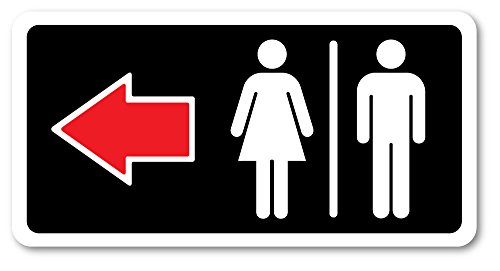 Grafken: GR1376 Plastic Sign Large 10 in x 5 in: Restrooms ICON-General. Arrow Left