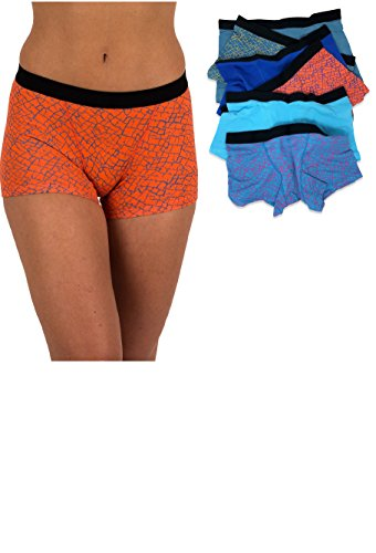 Sexy Basics Women's 6 Pack Modern Active Boy Short Boxer Brief Panties (6 Pack - Elephant, (Boyshorts Boxer)