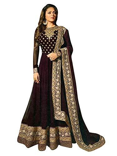 Women's Anarkali Salwar Kameez Designer Indian Dress Ethnic Party Embroidered Gown Wine