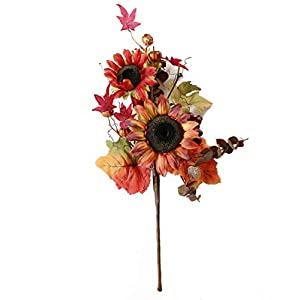 Charmly Artificial Sunflower Pumpkin Flowers Fake Sunflowers Maple Leaves and Berries for Home Wedding Party Halloween Christmas Decor 1 Bouquet Sunflower Small Pumpkin 27