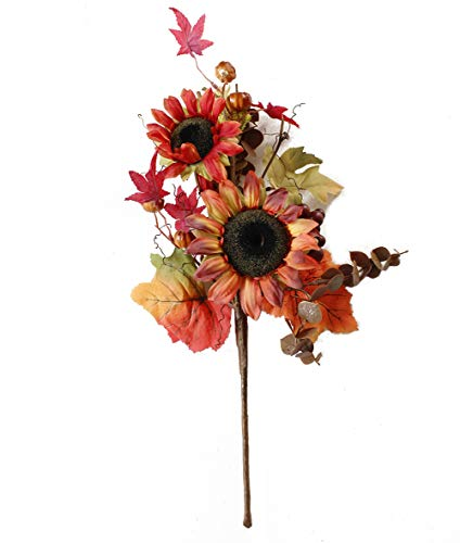 Charmly Artificial Sunflower Pumpkin Flowers Fake Sunflowers Maple Leaves and Berries for Home Wedding Party Halloween Christmas Decor 1 Bouquet Sunflower Small Pumpkin (Pumpkins Arrangements With Fall)