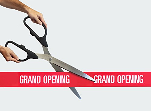 FREE Grand Opening Ribbon with 25'' Black/Silver Ceremonial Ribbon Cutting Scissors by Engraving, Awards & Gifts