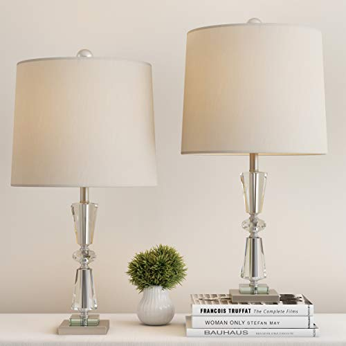 Lavish Home Crystal Double Tiered Shades-Set of 2 Faceted Brushed Silver Base Matching Table Lamps-Elegant, Modern Lights-Home Décor ()