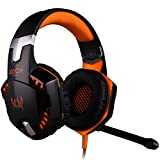 Bengoo Gaming Headset Comfortable 3.5mm Stereo Over-ear Headphone Headband with LED Lighting for PC Computer Game With Noise Isolation & Volume Control (Not Support PS4/XBox360) - Orange
