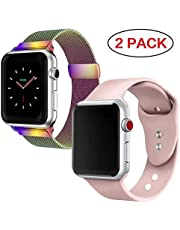 GBPOOT Compatible for Apple Watch Band 38mm 40mm 42mm 44mm with Screen Protector Case, Sports Wristband Strap Replacement Band with Protective Case for Iwatch Series 4/3/2/1
