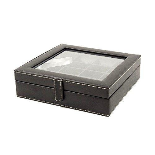 Executive Genuine Black Leather 20 Pocket Cufflink Jewelry Case Box (Leather Mens Cufflinks)
