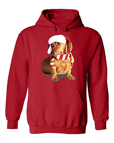 Happy New Year Cute Brown Weiner Dog Costume Unisex Pullover Hoodie Hooded (Red,X-Large)