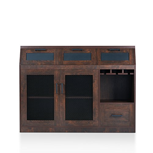 HOMES: Inside + Out HFW-1675C6 Tanaka Transitional Style Buffet Server, Vintage Walnut (Server Walnut Buffet)