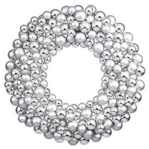 Vickerman Colored Ball Wreath, 36-Inch, Silver