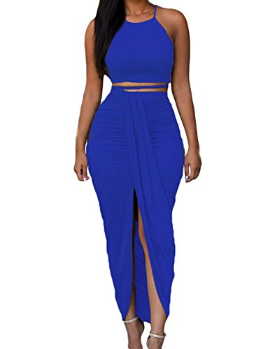 Womens Sexy Cotton Sleeveless Slit Two Piece Maxi Skirt Set S Royal Blue