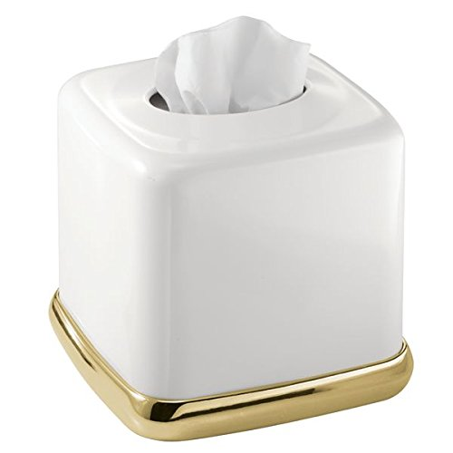 Box Brass (mDesign Square Facial Tissue Box Cover Holder for Bathroom Vanity Counter Tops, Bedroom Dressers, Night Stands, Desks and Tables - Solid Steel Construction, White with a Soft Brass Base)