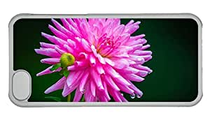 Cheap iphone cases new Pink dahlia dew water drops PC Transparent for Apple iPhone 5C