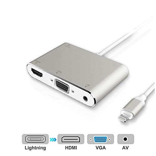 HDMI VGA AV Adapter Converter, Acetend 2019 Latest Version 4 in 1 Plug and Play Digtal AV Adapter for iPhone X / 8 / 8Plus/7/7Plus/6/6s/6s Plus/5/5s iPad iPod to Projector HDTV (Silver) (Silver)