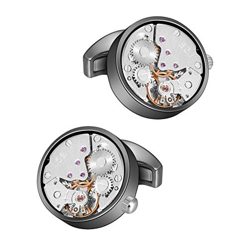Silver Cufflinks Watch Movement - MERIT OCEAN Movement Cufflinks Steampunk Watch Mens Shirt Vintage Watch Cuff Links Business Wedding Gifts (Silver in The Middle)