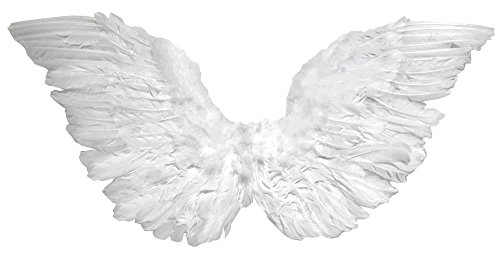 Forum Novelties Women's Small Club-Size Feather Angel Wings, White, One (Adult Angel Costumes)