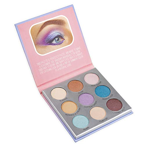 Nicole Miller Pastel Nudes Eye Shadow Palette, Eye Makeup for Women, Makeup Set and Cosmetics for Girls Eyeshadow Colors, Small Compact Set - 9 Pastel and Nude Shades