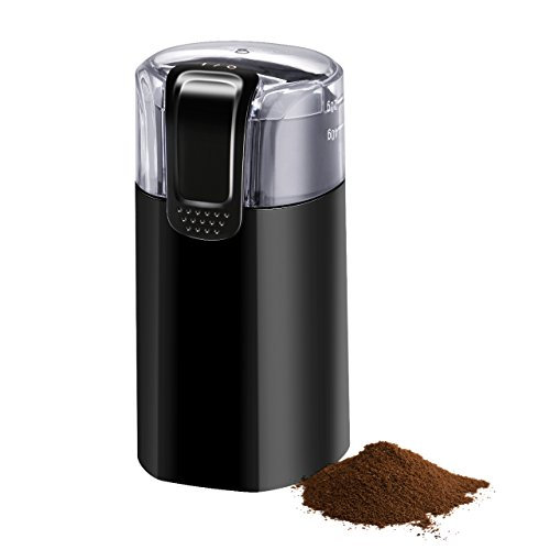 Electric Coffee Grinder, Atmoko Conical Burr Grinder and Spice Grinder with Multi-functional Stainless-Steel Blades, Removable Transparent Cover, Cord Storage, Brush, Portable Coffee Mill, Black by Atmoko (Image #8)