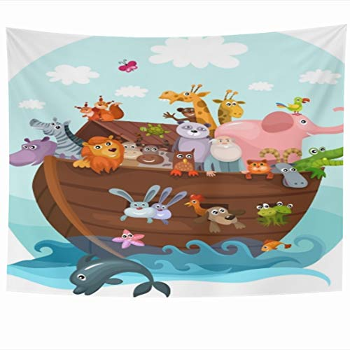 Ahawoso Tapestry 80 x 60 Inches Boat Story Noahs Ark Bible Cute Arc Design Lion Wall Hanging Home Decor Tapestries for Living Room Bedroom Dorm