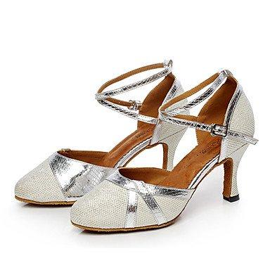 XIAMUO Nicht anpassbar - Die Frauen tanzen Schuhe Leder Leder Latin/Moderne Turnschuhe Ferse Praxis, Silber, US 8 / EU 39/UK6/CN 39