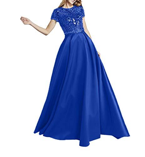 Abschlussballkleider Hochwertig Abendkleider Royal Charmant Kurzarm Promkleider Steine Blau Ballkleider Damen Mit Satin 1aHa7p