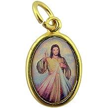 Gold Toned Base with Epoxy Image Catholic Saint Medal Pendant, 1 Inch