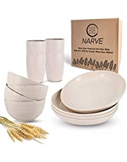 Wheat Straw Dinnerware Sets (12pcs) Beige-Unbreakable Microwave Safe-Lightweight Bowls, Cups, Plates Set-Reusable, Eco Friendly,Dishwasher Safe,Wheat Straw Plates,Wheat Straw Bowls, Cereal Bowls