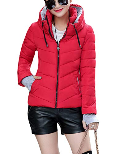 Tanming Women's Warm Stand Collar Hooded Quilted Cotton Padding Parka Jacket Coats (Red, X-Small)