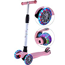 Outon Kick Scooter For Kids 3 Wheel Lean To Steer Adjustable Height PU ABEC-7 Flasing Wheels