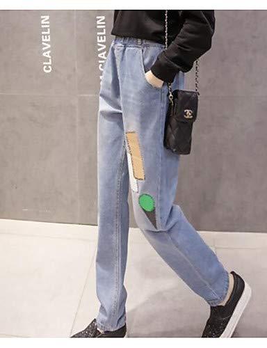 Da Jeans Cotone Yfltz Pantaloni Tinta Blue Unita In Donna w5Igazqg