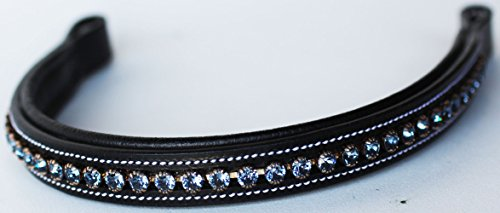 St. Charles BROWBAND Bling Crystal Horse English Bridle USA Leather Polo Beaded 809S12