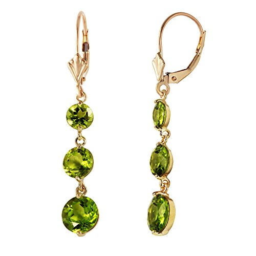 7.2 Carat 14k Solid Gold Chandelier Earrings with Natural Peridots