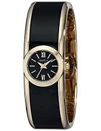 CARAVELLE NEW YORK Gold Plated Black Women's Bangle Watch