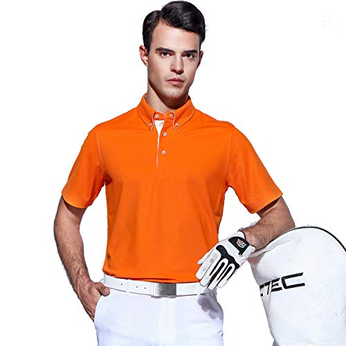 EAGEGOF Men's Shirts Short Sleeve Tech Performance Golf Polo Dri-Fit Shirt Standard Fit