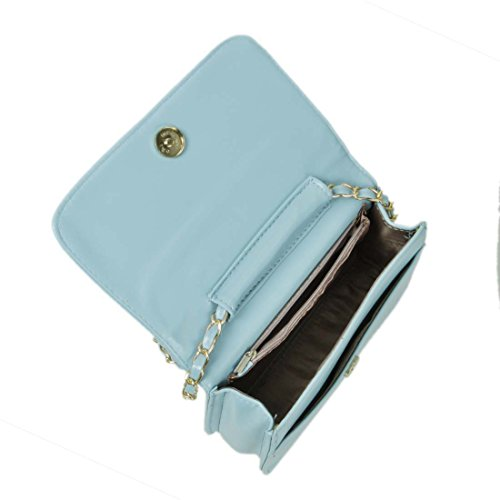 BMC Mujeres Color Sólido piel artificial Guateado Rombos Diseño Mini Bolso De noche Verde Azulado