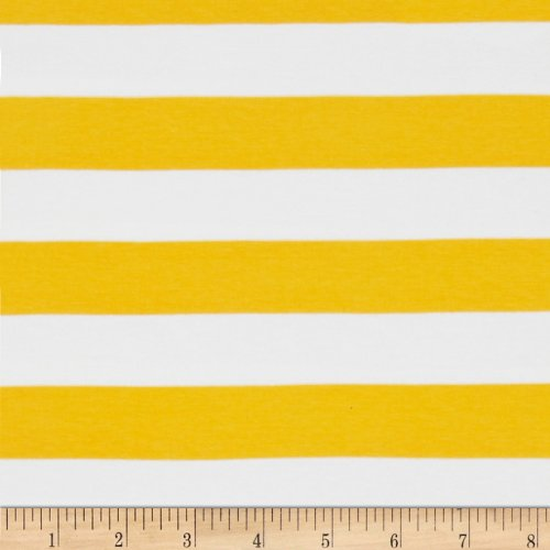 (Riley Blake Designs Knit 1 Inch Stripe Yellow Fabric by The)